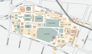 Trinity College map showing the Hamilton Conference Centre, Dining Hall and The Pavilion